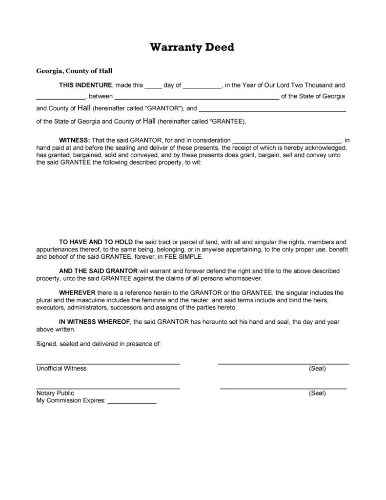 warranty deed form 22