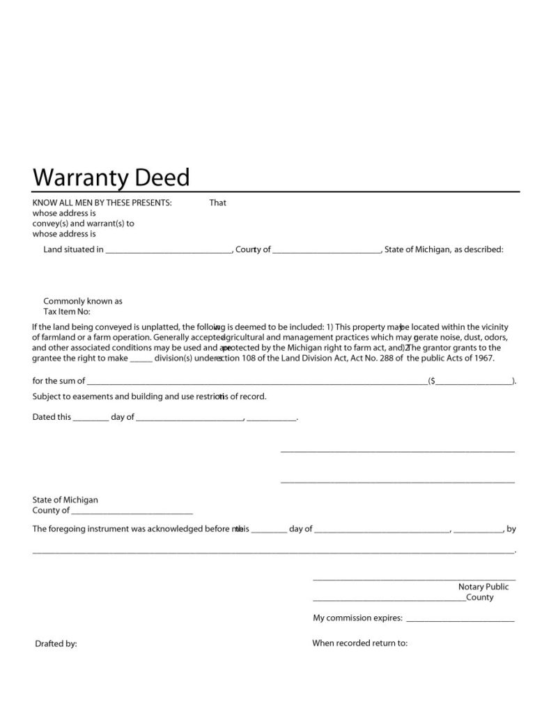 warranty deed form 25