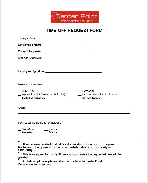 time off request form template 12