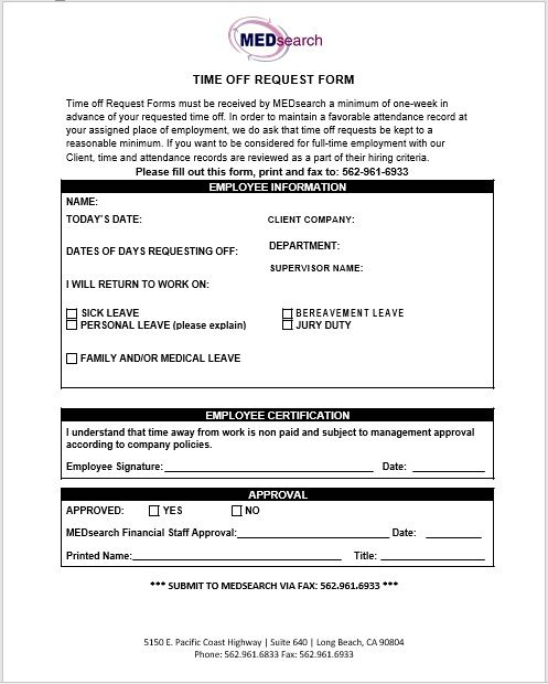 time off request form template 16