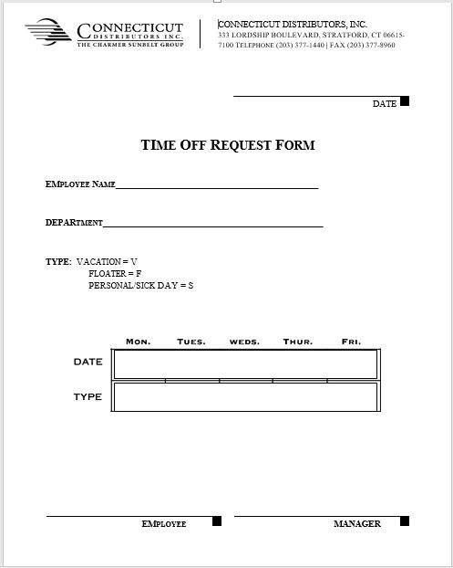 time off request form template 25