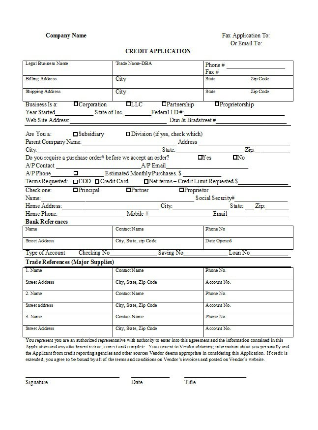 Credit Application Form 06