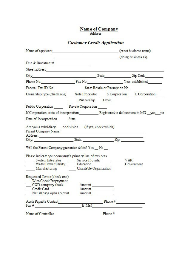 Credit Application Form 08