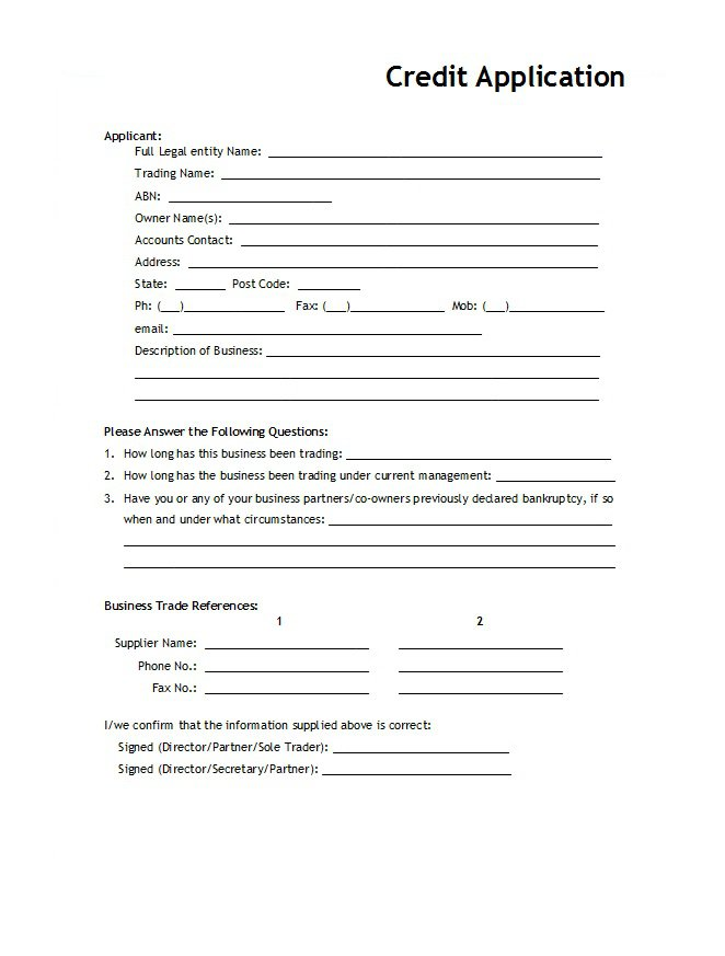 Credit Application Form 11
