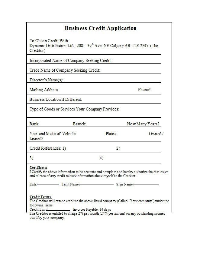 Credit Application Form 26
