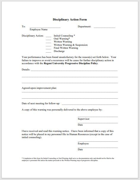 Disciplinary Action Form 11