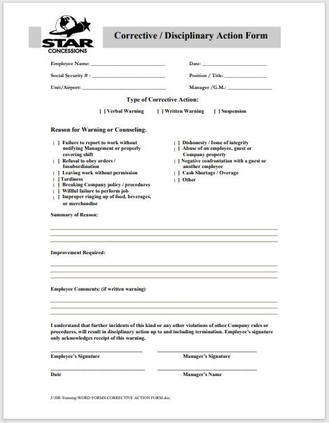 Disciplinary Action Form 12