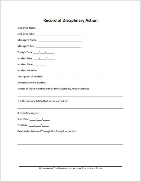 Disciplinary Action Form 14