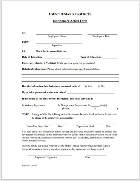 Disciplinary Action Form 17