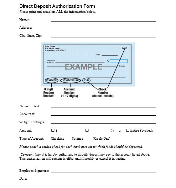 Direct Deposit Authorization Form 01