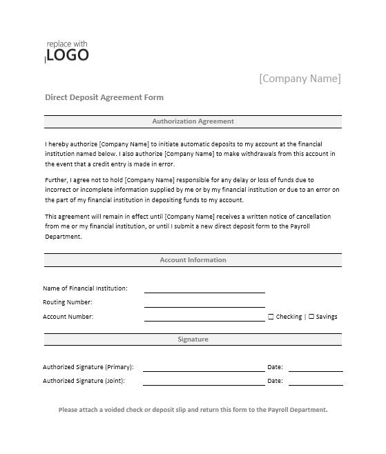 Direct Deposit Authorization Form 02