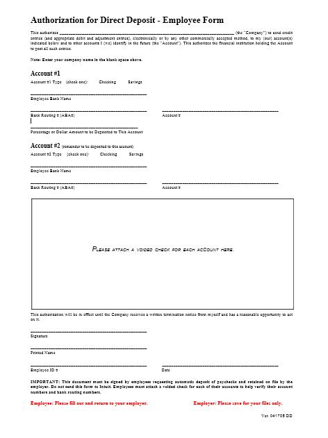 Direct Deposit Authorization Form 03