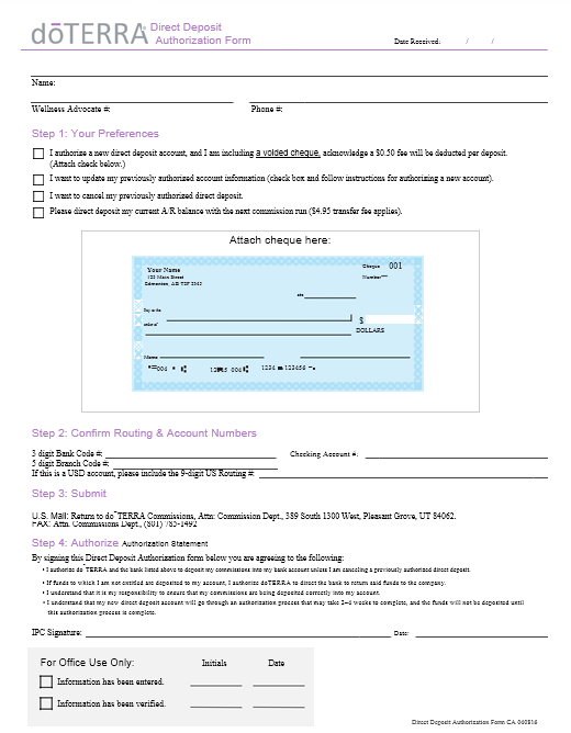 Direct Deposit Authorization Form 09
