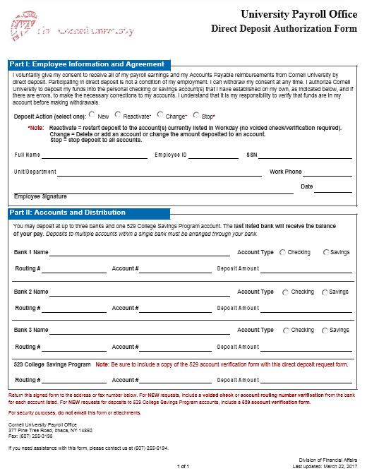 Direct Deposit Authorization Form 22