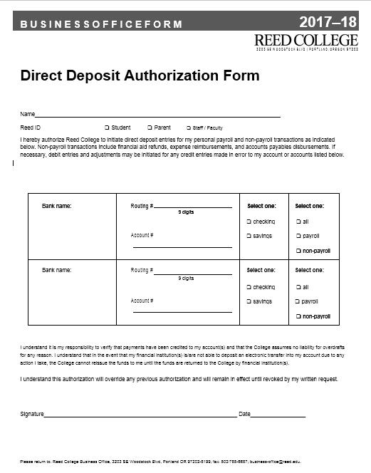 Direct Deposit Authorization Form 25