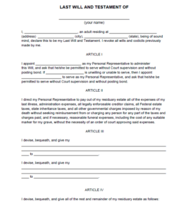 Last will and Testament template 01