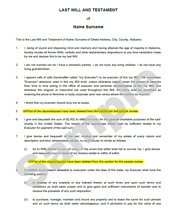Last will and Testament template 04