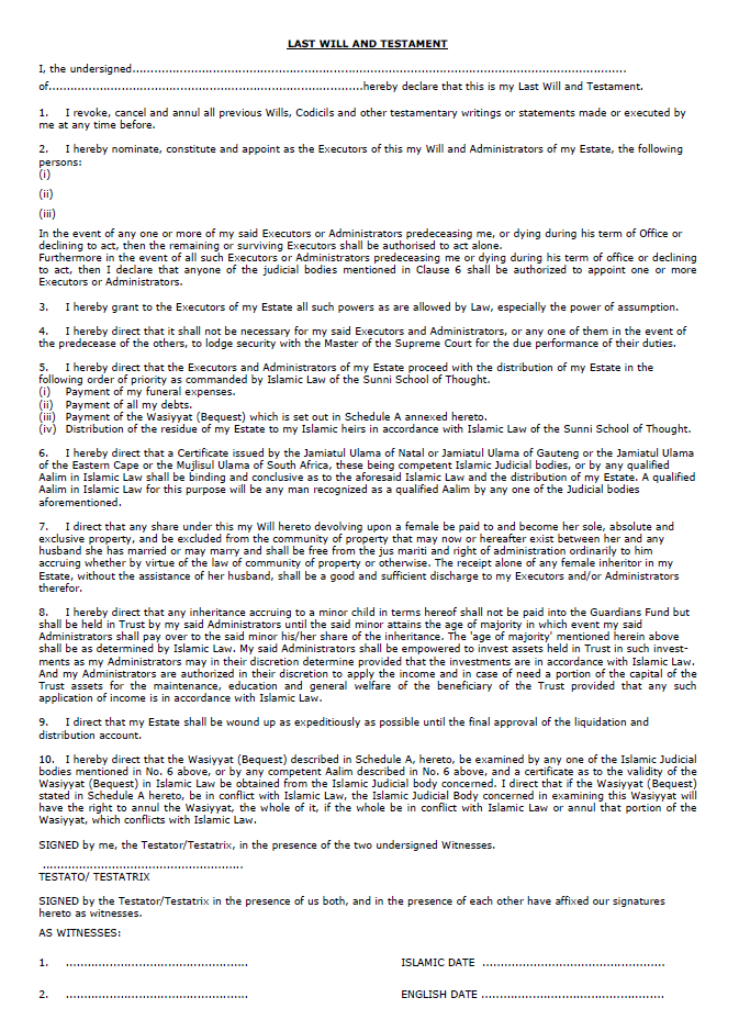 Last will and Testament template 14