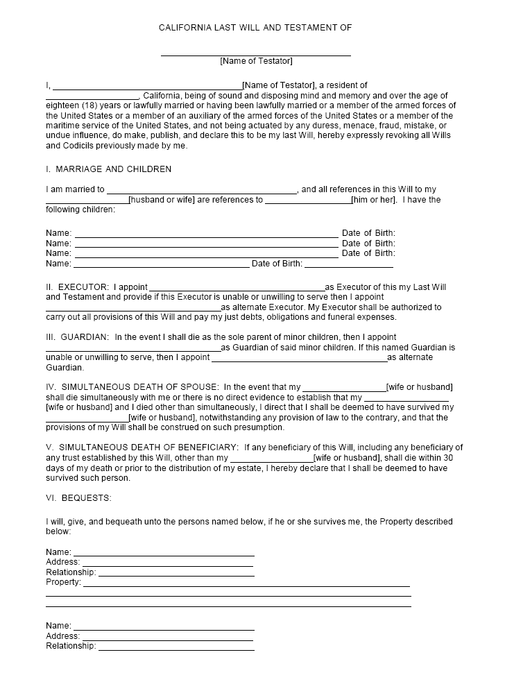 Last will and Testament template 18