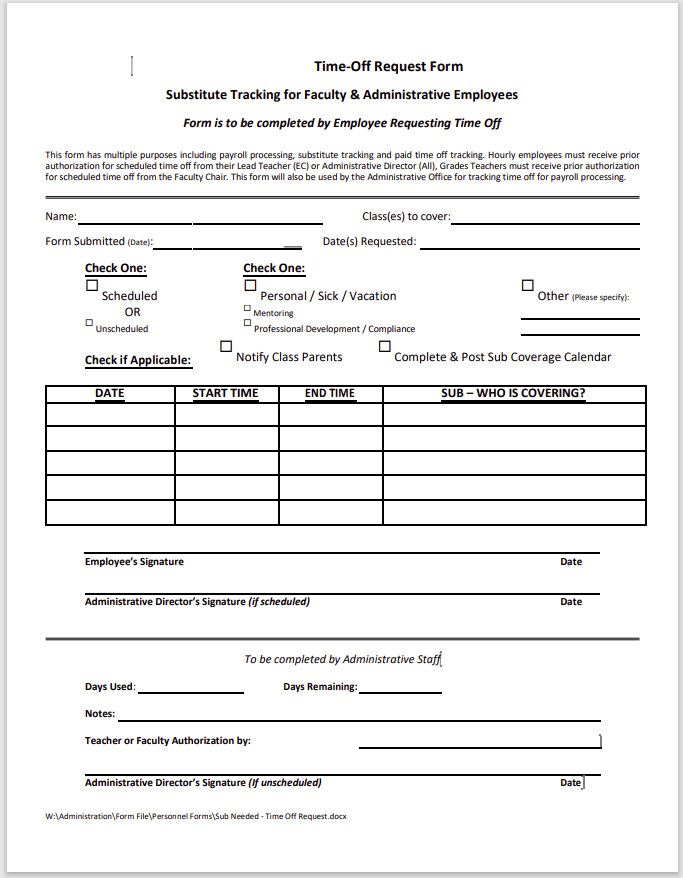 time off request form template 01