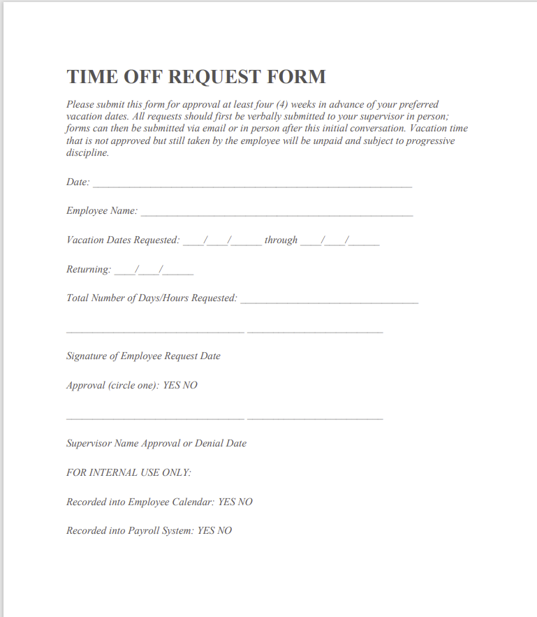 time off request form template 02