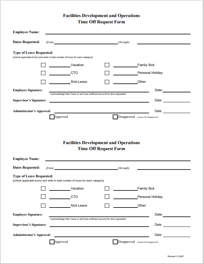 time off request form template 24