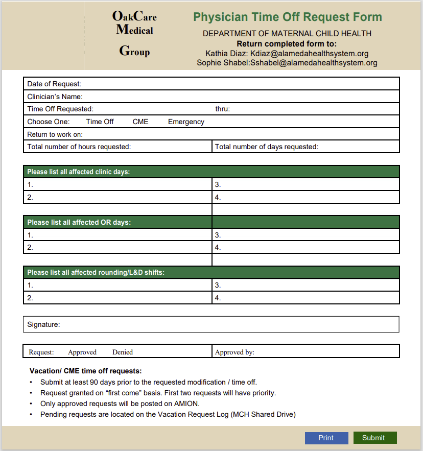 time off request form template 26