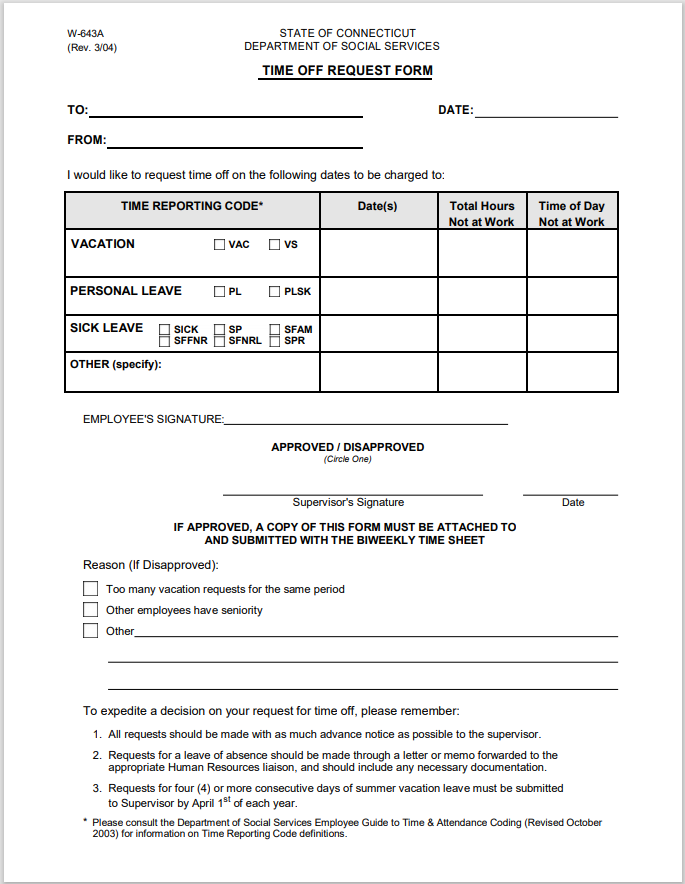 time off request form template 28