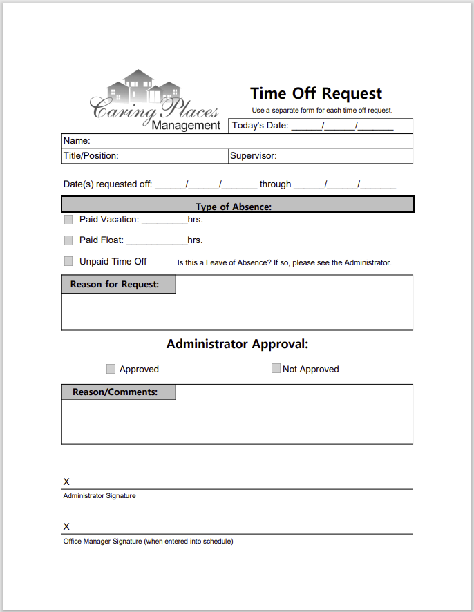 time off request form template 30