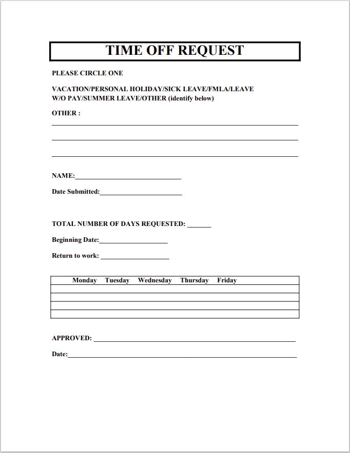time off request form template 31