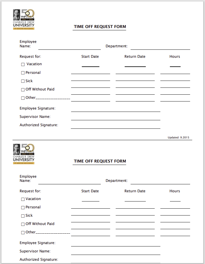 time off request form template 32