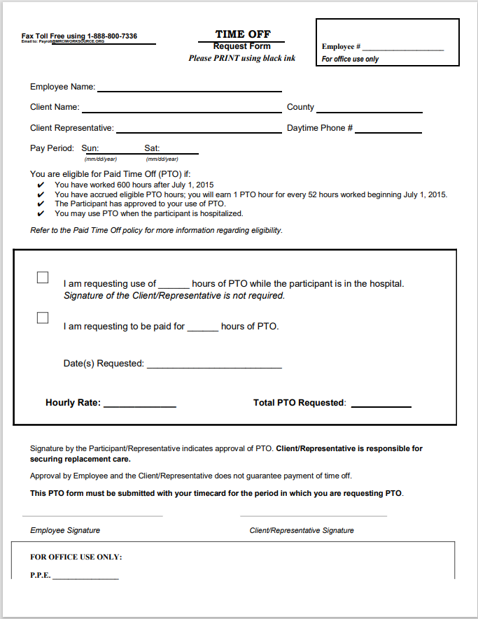 time off request form template 34