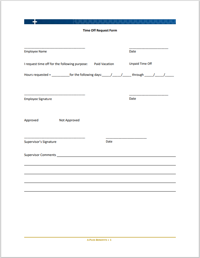 time off request form template 36