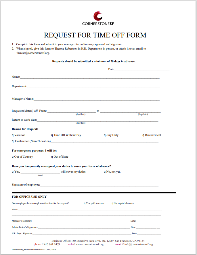 time off request form template 38