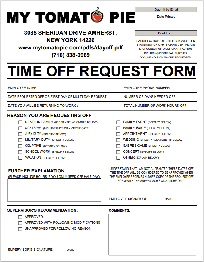 time off request form template 39