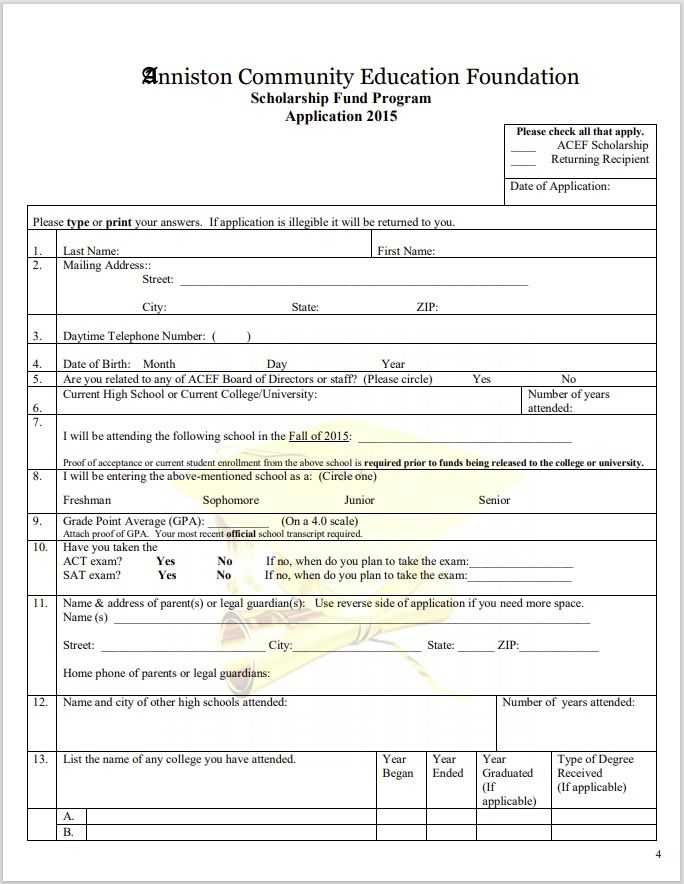 Scholarship Application Template 05