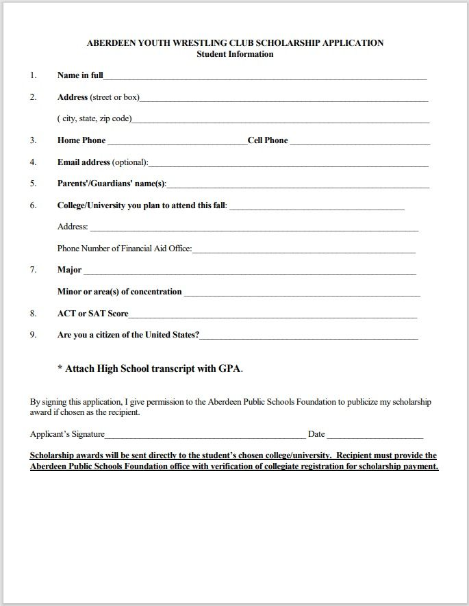 Scholarship Application Template 08