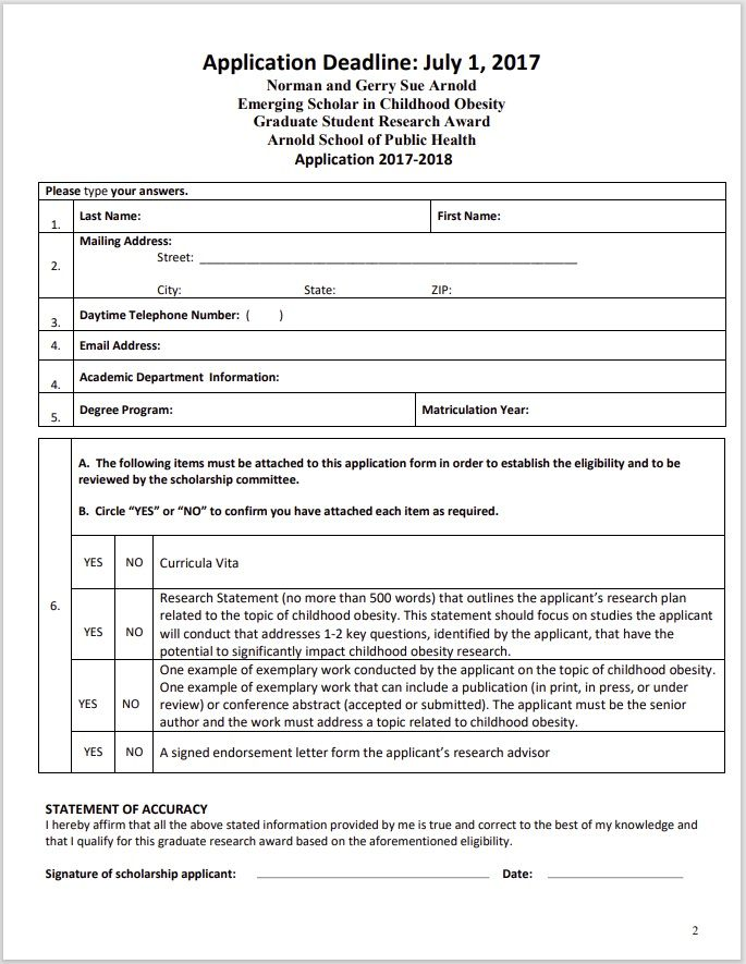 Scholarship Application Template 16