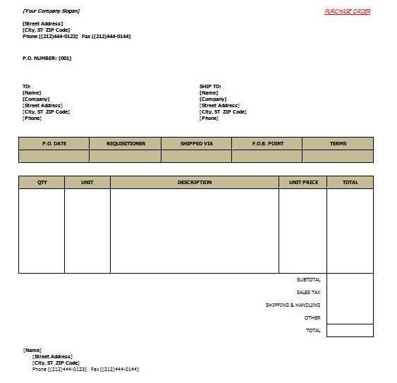 Purchase Order Template 10