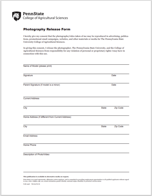 photo release form 13