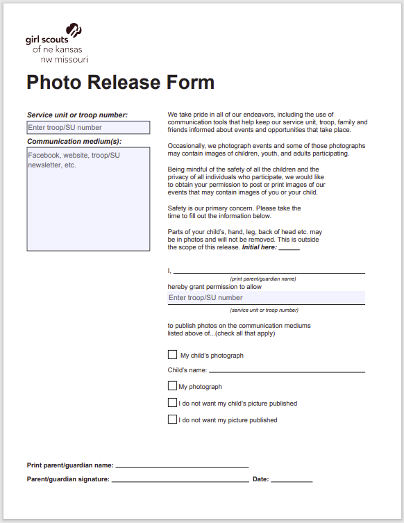photo release form 17