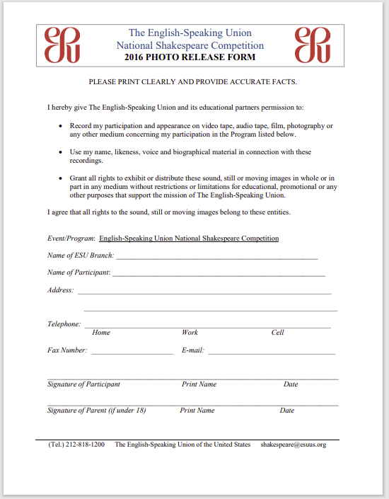 photo release form 20