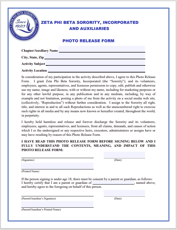 photo release form 27