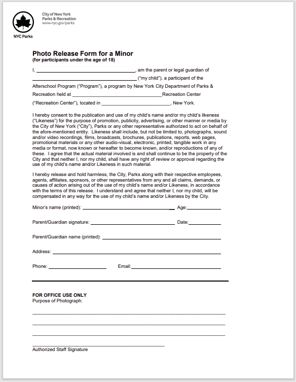 photo release form 30